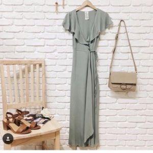 Creamy green wrap dress